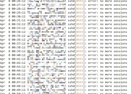 error: no more sessions